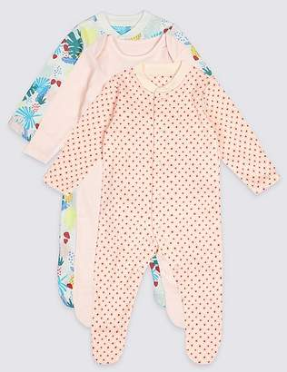 Marks and Spencer 3 Pack Pure Cotton Tropical Print Sleepsuits