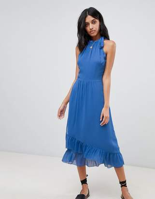 Warehouse Frill Detail Halter Maxi Dress
