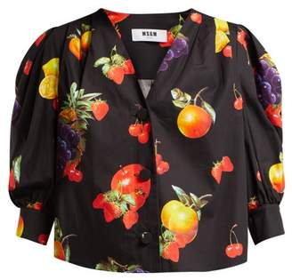 MSGM Fruit Print Cotton Blouse - Womens - Black Multi