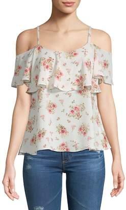 Bobeau Women's Floral Cold-Shoulder Top