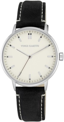 Vince Camuto Women's Stainless & Black Suede Leather Watch