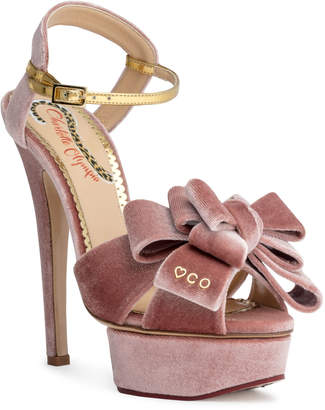 Charlotte Olympia Dusty pink 140 velvet platform sandals