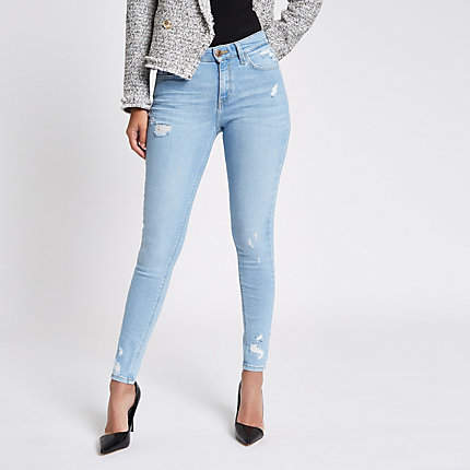 Womens Blue Amelie ripped super skinny jeans