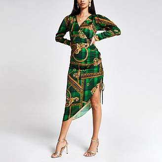 River Island Green print wrap front long sleeve midi dress