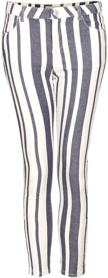 Topshop Moto stripe yarn dye leigh jeans