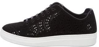 Alaia Laser-Cut Suede Sneakers