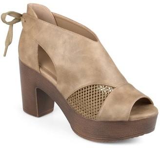 5e742a4eded60 Women's Faux Leather Tie Back Open Toe Platform Clogs