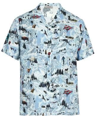 Lanvin - Printed Short Sleeved Poplin Shirt - Mens - Light Blue