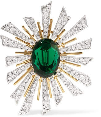 Kenneth Jay Lane Gold And Rhodium-plated Crystal Brooch - Green