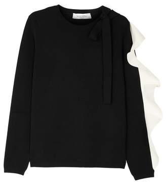 Valentino Black Ruffle-trimmed Stretch-knit Jumper