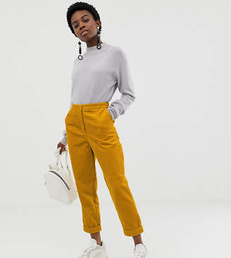 Asos DESIGN Petite jumbo cord tapered pants with turn up