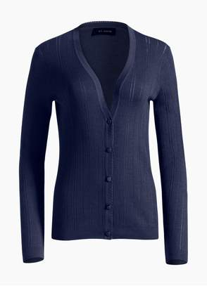 St. John Fine Gauge Pointelle Rib Knit V-Neck Cardigan