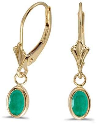 14K Yellow Gold Oval Emerald Bezel Lever-back Dangle Earrings