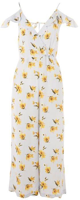 Topshop Frill floral wrap jumpsuit