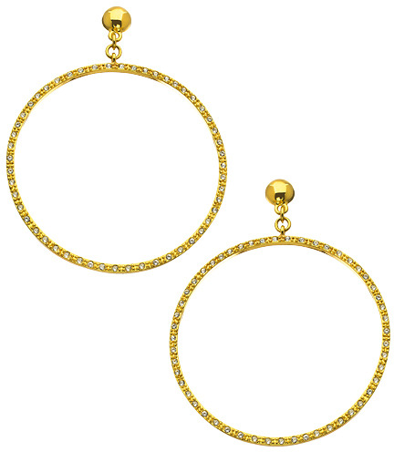 Trina Turk Gold and Pave Hoop Earrings