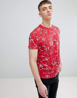 Solid T-Shirt In Reverse Print In Red