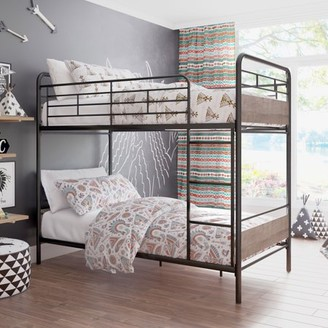 Better Homes & Gardens Anniston Twin Over Twin Bunk Bed, Metal Frame and Rustic Gray Accents