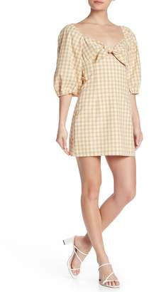ENGLISH FACTORY Plaid Front Tie Dress