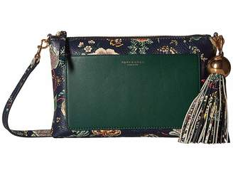 Tory Burch Floral Tassel Top Zip Crossbody