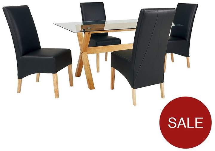 Venla 150 Cm Solid Wood And Glass Dining Table + 4 Eternity Chairs