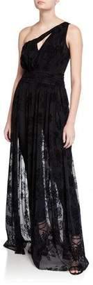 Chiara Boni One-Shoulder Jumpsuit with Velvet Floral Tulle Overskirt