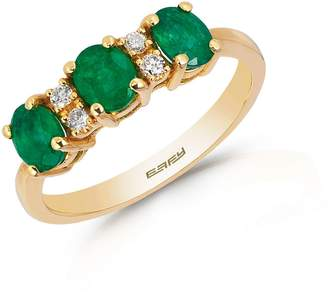 Effy 14K Yellow Gold Natural Emerald Ring with 0.08 CT. T.W. Diamonds