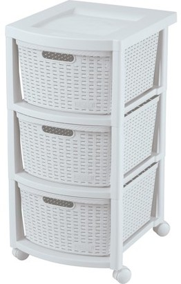 Rimax Casual White Three Drawer Rolling Cart