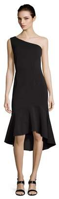 Adrianna Papell One Shoulder Sheath Midi Dress With Trumpet Skirt.