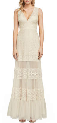 BCBGMAXAZRIA Metallic Lace Gown