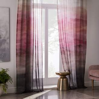 west elm Sheer Cotton Painted Ombre Curtains (Set of 2) - Dusty Blush