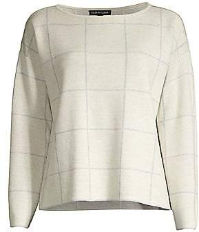 Eileen Fisher Women's Boxy Grid Print Top