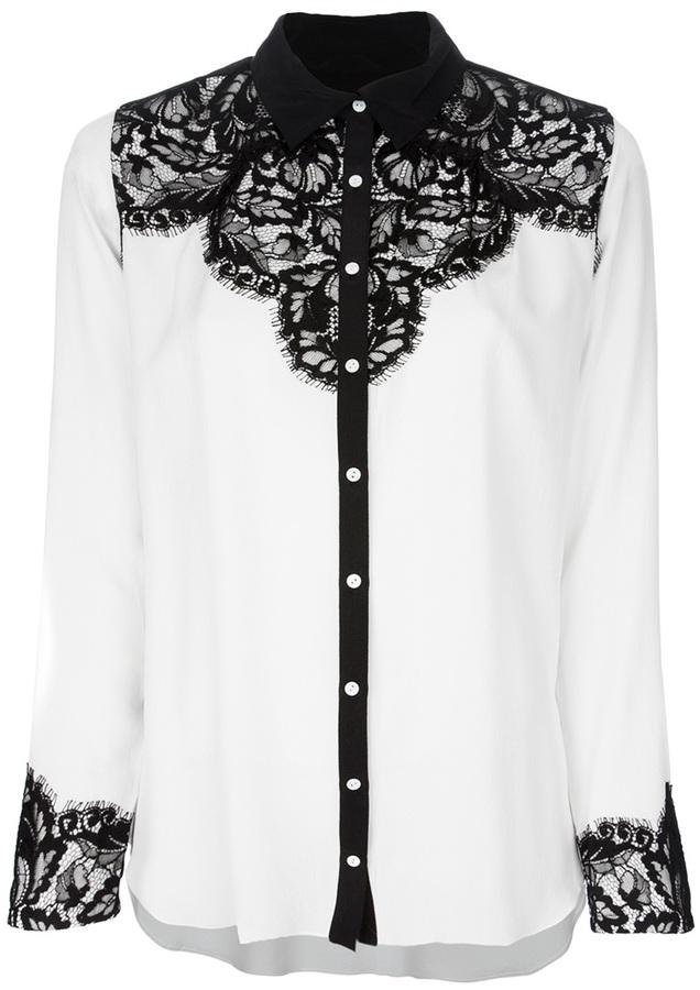 Nicole Miller lace detail shirt