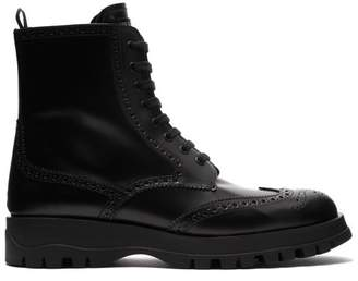 Prada Lace Up Leather Brogue Ankle Boots - Womens - Black