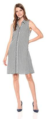 MSK Women's Sleevless Checkered Woven Shirt Dress with Pearl Buttons