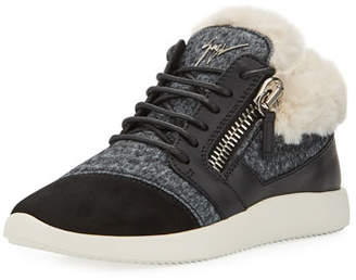 Giuseppe Zanotti Faux-Fur High-Top Trainer Sneakers