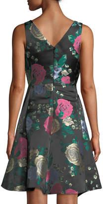 Tahari ASL Floral Jacquard Draped Fit-and-Flare Dress