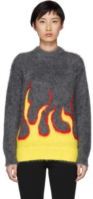 Prada Grey Mohair Flame Crewneck Sweater
