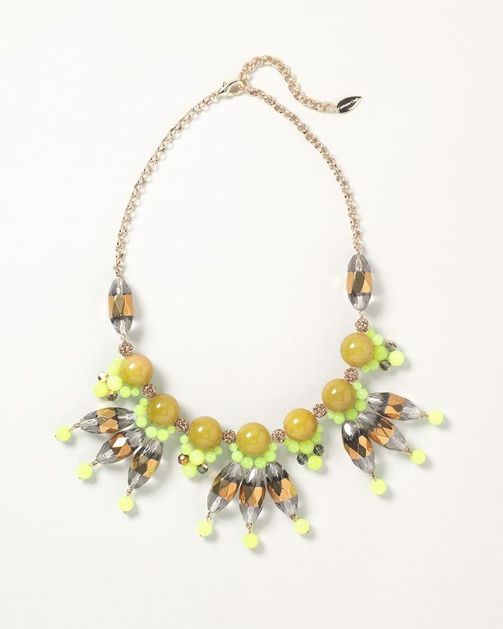 Citron cluster bib necklace