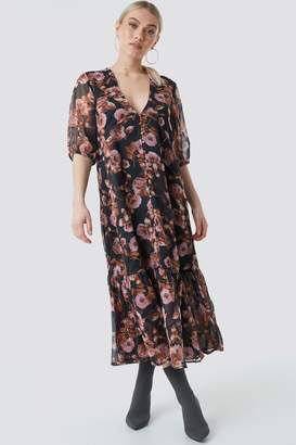 Na Kd Boho V-Neck Puff Sleeve Chiffon Dress Black/Pink Flower Print