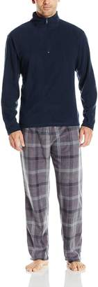Intimo Men'song Seeve Soid Quarter Zip Microfeece Top and Microfeece Paid Pant