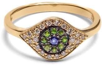 Ileana Makri Diamond, Sapphire, Tsavorite & Yellow Gold Ring - Womens - Yellow Gold