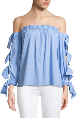 Milly Blythe Off-The-Shoulder Tie-Sleeve Blouse, Blue