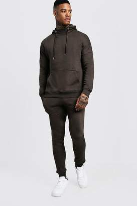 boohoo Funnel Neck Hooded Tracksuit With Skinny Joggers