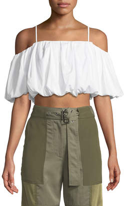 3.1 Phillip Lim Off-the-Shoulder Short-Sleeve Cotton Crop Top