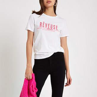 River Island White 'reveuse' bright pink print T-shirt