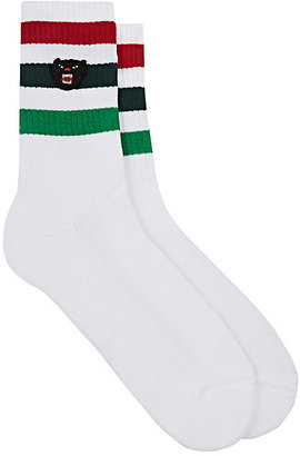 Gucci Men's Striped Mid-Calf Socks-White $95 thestylecure.com