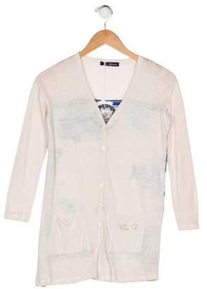 Miss Blumarine Girls' Printed Linen Cardigan w/ Tags