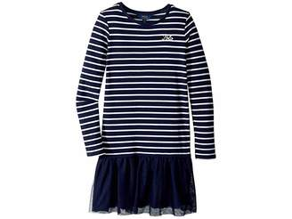 Polo Ralph Lauren Striped Terry-Tulle Dress (Little Kids/Big Kids)