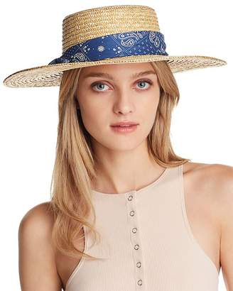 August Hat Company Paisley-Trim Straw Boater Hat - 100% Exclusive