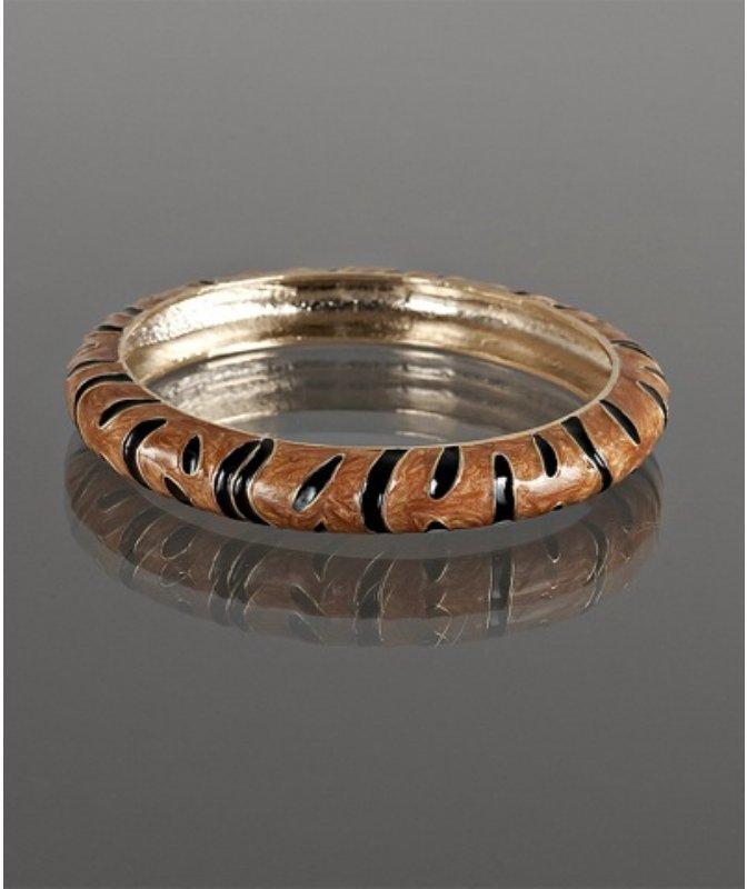 Kenneth Jay Lane brown enamel tiger stripe bangle
